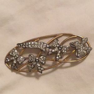 Vintage rhinestone bow brooch